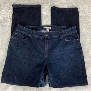 Chico's Dk Wash Bootcut Jeans Embellished Pockets